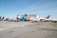 Calgary International Airport, Calgary, Alberta Canada (CYYC) - some stored crj´s - by Yakfreak - VAP