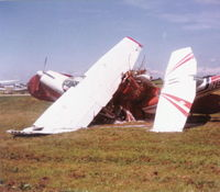 Fairfield County Airport (LHQ) - Tornado damage. Ball of planes - foamed down and No Smoking signs in place - by Bob Simmermon