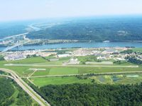 Gallia-meigs Regional Airport (GAS) - Looking SE at the Ohio River & West Virginia beyond.  The Kanawha can be seen coming up from Charleston into the Ohio. - by Bob Simmermon