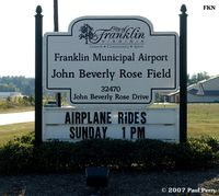Franklin Muni-john Beverly Rose Airport (FKN) - Roadside sign at the Franklin airport - by Paul Perry