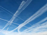 Mc Carran International Airport (LAS) - More of those crazy contrails... - by Brad Campbell