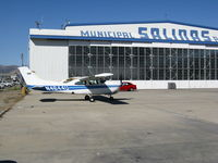 Salinas Municipal Airport (SNS) - N4644U in front of the classic Salinas Municipal Airport hangar - by Steve Nation