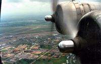Tstc Waco Airport (CNW) - Downwind for runway 17L in B-17 Chuckie N3701G at TSTC Waco (Formerly Connally AFB) Airshow 87 - by Zane Adams