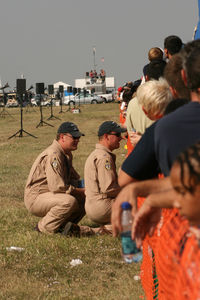 Fort Worth Alliance Airport (AFW) - Alliance Airshow 2008 - Super Hornet Demo crew, LBJ and Radio, working the crowd line.  - by Zane Adams