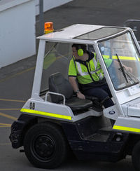 Christchurch International Airport, Christchurch New Zealand (NZCH) - Wow....big golf cart, for the first  after all it is  3000+m.  My son is driving - by Bill Mallinson