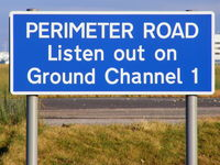 Manchester Airport, Manchester, England United Kingdom (EGCC) - Perimeter road sign at EGCC - by Chris Hall