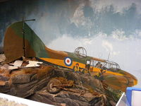 Caernarfon Airport, Caernarfon, Wales United Kingdom (EGCK) - painting depicting a plane crash in North Wales. The tail and undercarrage were recovered from the crash site - by Chris Hall