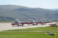 Kamloops Airport, Kamloops, British Columbia Canada (CYKA) - Snowbirds making a quick stop at Kamloops on their way to the airshow at CFB Comox - by Michel Teiten ( www.mablehome.com )