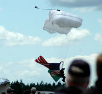Olympia Regional Airport (OLM) - Major Ohno plants the flag starting the air show 2009 - by Wolf Kotenberg