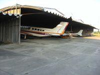 Fremont Airport (14G) - Uniquely built hangers - by Bob Simmermon