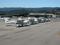 San Carlos Airport (SQL) - A gaggle of Cessnas on the ramp - by Steve Nation