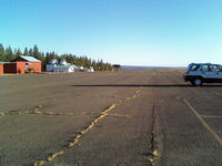 Blue Canyon - Nyack Airport (BLU) - Parking apron, looking south. Buildings are observatories, no services - by W. Lord