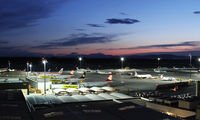 Vienna International Airport, Vienna Austria (VIE) - sunset; view from parking #3; with SP-LDC and OH-LKN - by Jetfreak