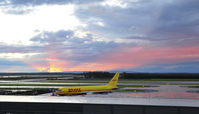 Washington Dulles International Airport (IAD) - Stormy sunset west of KIAD on 11/15/2008.  N775AX in the foreground. - by concord977
