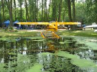 Vette/blust Seaplane Base (96WI) - A view of a Cub and some exhibitors behind it at the Vette/Blust Seaplane Base. - by Kreg Anderson