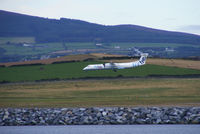Isle of Man Airport - Flybe Dash-8 on short finals into Ronaldsway Airport - by Chris Hall