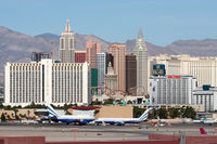 Mc Carran International Airport (LAS) - The business jet ramp and Las Vegas hotels. - by Dean Heald