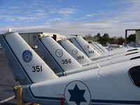 Hayward Executive Airport (HWD) - Company was converting ex-Israel Defence Force TB-20 Trinidads for civilian use in late 2005 and early 2006 - here is a line up of some of the fuselages - by Steve Nation