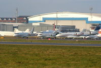 London Luton Airport, London, England United Kingdom (EGGW) - Bizjets at Luton Airport amongst which are: Hawker 900XP P4-PET, Bombardier CL300 G-MEGP, Gulfstream 5 VQ-BLA and Gulfstream 200 HB-JKE - by Chris Hall