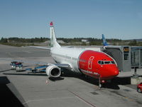 Oslo Airport, Gardermoen, Gardermoen (near Oslo), Akershus Norway (ENGM) - Norwegian Air Boeing 737-300 Flight DY612 to Bergen (BGO) standing on Gate A22 in Oslo-Gardermoen (OSL) soon ready for boarding...LN-KKH with Otto Sverdrup on the tail. - by Samuel Gombos