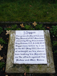 RAF Scampton - The grave of Nigger, Wing Commander Guy Gibson's dog - by Chris Hall