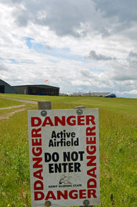 Challock Airport - LOOKING TOWARDS THE HANGARS. - by Martin Browne