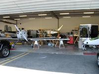 Santa Paula Airport (SZP) - Aviation F/X. Assorted Experimental aircraft, In build. Left to right-rare White Lightning, Van's RV, Questair Venture, BD-FLS MICROJET, Quantum Turbine TJ100 jet engine - by Doug Robertson