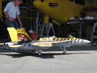 Santa Paula Airport (SZP) - RC JET Kerosene Burner (A real ear splitter!) at AVIATION F/X Hangar. A BIG TOY for a BIG BOY. - by Doug Robertson