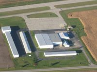 Piqua Airport- Hartzell Field Airport (I17) - View of the ramp, looking NE from 2500' - by Bob Simmermon