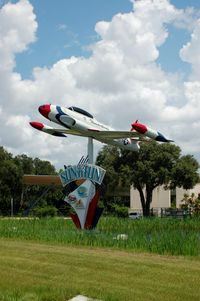 Lakeland Linder Regional Airport (LAL) - Lockheed Shooting Star on Sun 'n Fun Sign at Lakeland Linder Regional Airport, Lakeland, FL - by scotch-canadian