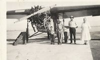 Glacier Park International Airport (GPI) - Fokker Super Universal.  Taken in 1930 @ Kalispell Mt. Airport  Pictured are my dad (Ray) 5 y.o., uncle Earl, and grandparents August and Ellen Ihde along with a friend. - by Daniel Ihde