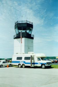 Dutchess County Airport (POU) - FAA Aviation Education Van and Airport Control Tower at at Dutchess County Airport, Poughkeepsie, NY - circa 1980's - by scotch-canadian