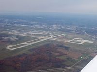 Gerald R. Ford International Airport (GRR) - View of Grand Rapids airport from the South East, runway 35 is at the lower left, runway 26L is on the right hand side. - by Dave Wells