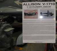 Camarillo Airport (CMA) - Allison V-1710 engine, at CAF Museum. Data card. - by Doug Robertson