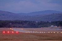 Dillant-hopkins Airport (EEN) - Evening lights on runway 02, Dillant-Hopkins Airport, Keene, NH - by Ron Yantiss