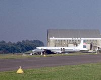 Luxembourg International Airport, Luxembourg Luxembourg (ELLX) - Poor quality photo as scanned & processed from old dia. Loftleidir's DC- 6B, ex PAN AM clipper parked near hangar. Registration is probably TF-LLB. 1962 is a close guess   - by Jean M Braun