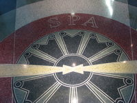 Spartanburg Downtown Memorial Airport (SPA) - Logo in floor inside main entrance. - by John S. Anderson