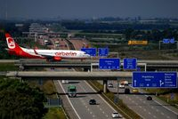Leipzig/Halle Airport, Leipzig/Halle Germany (EDDP) - Traffic on W1 (first floor) and A14 (basement) photographed from parkade (fifth floor). - by Holger Zengler