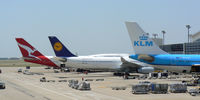Dallas/fort Worth International Airport (DFW) - QANTAS, Lufthansa and KLM at the gate - DFW Airport, Texas - by Zane Adams