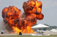 Lakeland Linder Regional Airport (LAL) - Pyros going off at Sun N Fun during Masters of Mayhem show - by Florida Metal
