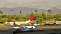 Honolulu International Airport (HNL) - A JAL Boeing 737 parked at Honolulu International Airport - by Murat Tanyel