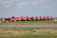 Norwich International Airport, Norwich, England United Kingdom (EGSH) - The Red Arrows parked on Delta at Norwich. - by Graham Reeve