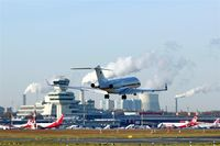 Tegel International Airport (closing in 2011), Berlin Germany (EDDT) - A jet of German Air Force Flugbereitschaft is going down on rwy 26R..... - by Holger Zengler