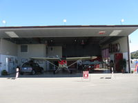 Santa Paula Airport (SZP) - Large Deluxe Hangar FOR SALE on corner of Curtiss taxiway and Museum taxiway. Prime midfield location near Fuel Dock. Bifold full-span door open. - by Doug Robertson