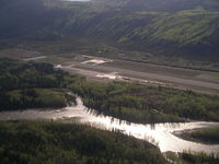 Dawson City Airport - Looking at the apron and threshold of runway 20 at Dawson City. - by Tim Kalushka
