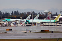 Snohomish County (paine Fld) Airport (PAE) - At Boeing: 2 EK 777, 1 QR 787, 1 DHL (?) 767 - by Micha Lueck