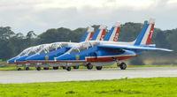 RAF Leuchars Airport, Leuchars, Scotland United Kingdom (EGQL) - Patrouille de france Alphajets E44/6,E117/5,E158/8 & E114/7 Line up on runway 09 for take off - by Mike stanners