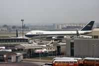 London Heathrow Airport, London, England United Kingdom (EGLL) - Seen from the roof of the Queens Building, Heathrow Airport in 1973, a BOAC 747-136 taxies past a BOAC VC10 Srs1101 and Boeing 707-436. - by Harry Longden