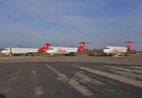 Saarbrücken Airport - Three Fokker 100 waiting for a better future. - by Wilfried_Broemmelmeyer