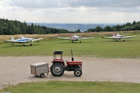 X5SB Airport - Piper tugs and the fire and rescue trolley! During The Northern Regional Gliding Competition, Sutton Bank, North Yorks, August 2 2013 - by Malcolm Clarke